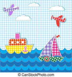 Baby background with aircrafts and ships Vector textile...