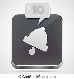 Vector bell app icon with gray bubble speech. Eps10