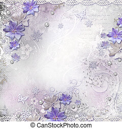 Spring background with flowers, lace, pearls