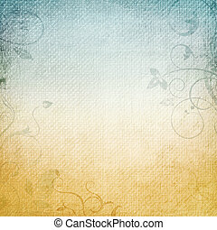 A paper background in beige and blue with floral elements