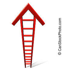 Climb To Success - Climb to success with a single red ladder...