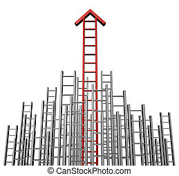 Success Arrow Ladder - Success arrow ladder with a group of...