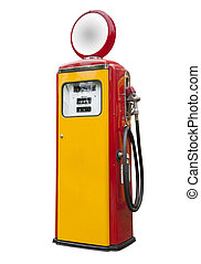 antique gas pump, isolated - antique gas pump in yellow and...