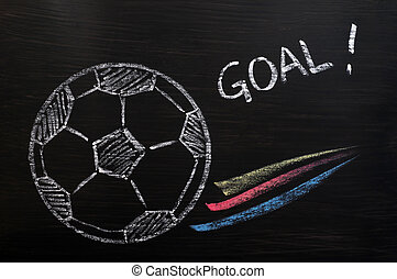 Chalk drawing of Football and Goal