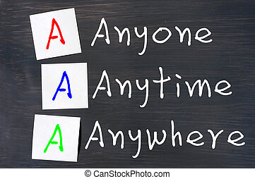 Acronym of AAA for anyone, anytime and anywhere