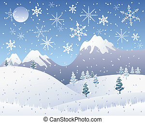christmas snow scene - an illustration of a snowy christmas...