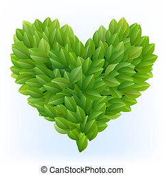 Heart symbol in green leaves - Heart symbol icon made from...