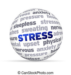 Stress - 3d Stress Word Sphere on white background.