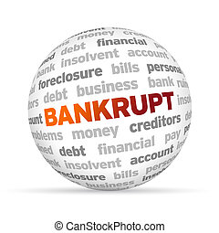 Bankrupt - 3d Bankrupt Word Sphere on white background.