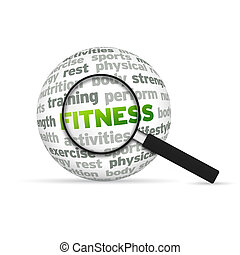 Fitness - Magnyfying Glass zooming in on a 3d Fitness Word...