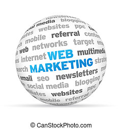 Web Marketing - 3d Web Marketing Word Sphere on white...