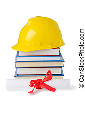 Construction industry education concept on white