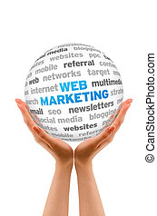Web Marketing - Hands holding a Web Marketing Word Sphere on...
