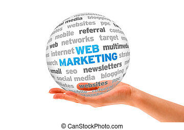 Web Marketing - Hand holding a Web Marketing Word Sphere on...
