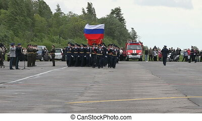parade of military officers - June 2, 2012 at the airfield...