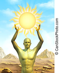 Sun power - Male statue holding a stylized sun. Digital...