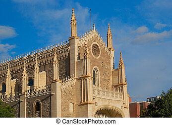 histórico, edifícios, catedral, igreja, Madrid