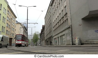 Tram in Tallinn, Estonia - Red and white tram passing the...