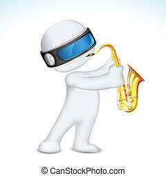 3d Man Playing Saxophone