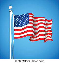 American Flag - illustration of American Flas waving in sky...