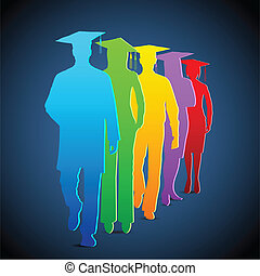 Graduates - illustration of colorful graduates with mortar...