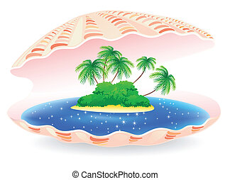 tropical island - sea shell with tropical island inside