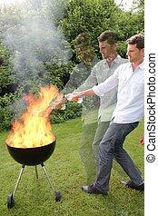 BBQ, fogo, jovem, homem
