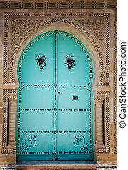 Arabic door - Blue wooden door in arabic style. Traditional...