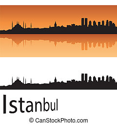 Istanbul skyline in orange background in editable vector...