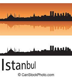 Istanbul skyline in orange background in editable vector...