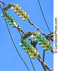 High voltage electrical insulator.Closeup. - High voltage...