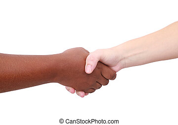 Closeup of people shaking hands black and white
