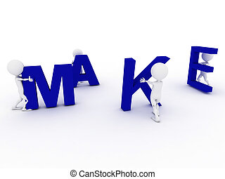 3D humans forming blue make word, 3d render