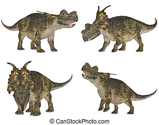 Achelosaurus Pack - Illustration of a pack of four 4...