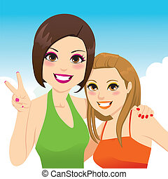 Best Friends Girls - Funny snapshot portrait illustration of...