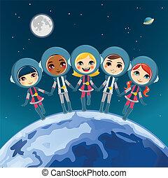 niños, astronauta, sueño