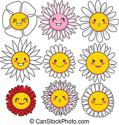 Funny Flower Faces - Collection of nine cute and funny...