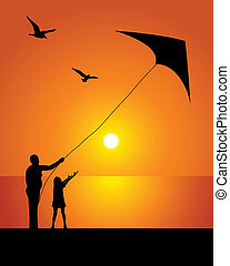 The girl and kite - Silhouette of the kite on a background...