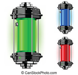 Container of alternative energy in different color, vector...