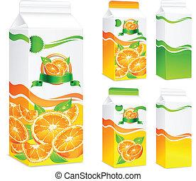 pacotes, laranja, suco