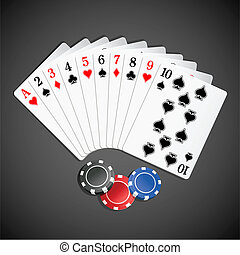 Playing Card with Poker - illustration of set of playing...