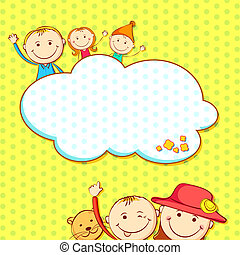 Kids in Birthday Background - illustration of kids in...