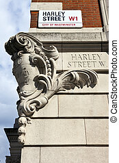 Harley Street in London - Street sign for Harley Street in...