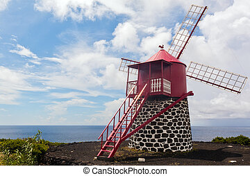 Azores windmill - Red windmill on the Azores, Portugal