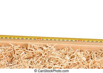 cinta, medida, madera, aserrín