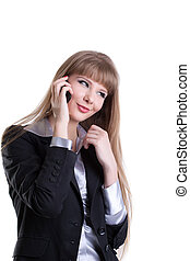 Pretty business woman talking on cell phone