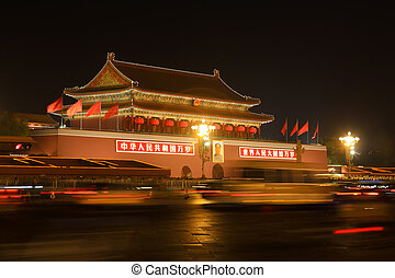 Beijing's tiananmen square at night, china - Beijing's...