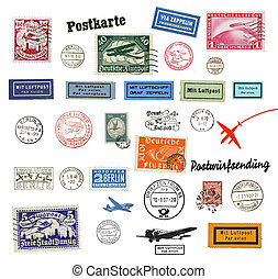 Postage stamps and labels from Germany, mostly vintage from...
