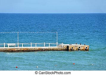 Empty sea pier at Black sea, Odessa, Ukraine