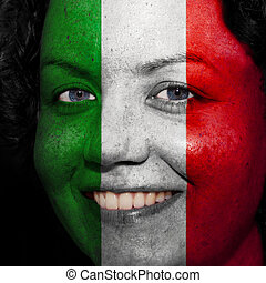 Woman with flag painted on her face to show Italy support